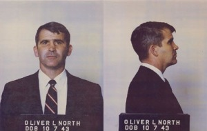 The right says they have problems with convicted felons unless that felon happens to be a guy like Oliver North