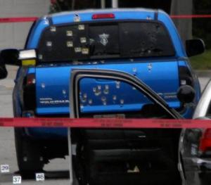 Truck shot up