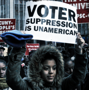 Voter suppression sign